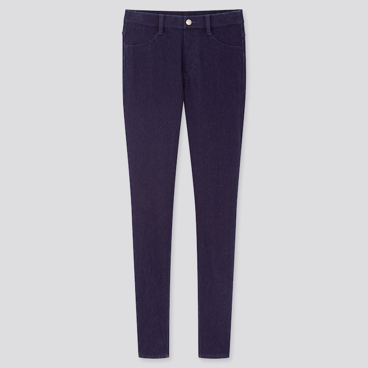 Women Ultra Stretch Denim Leggings Pants (Online Exclusive), Blue, Large