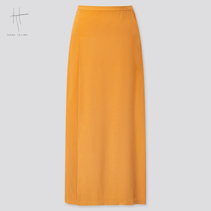 Women Wrap Long Skirt (Hana Tajima) (Online Exclusive), Orange, Large