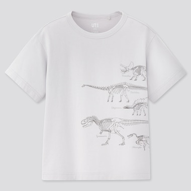 Kids Natural History Museum Ut (Short-Sleeve Graphic T-Shirt), Light Gray, Medium