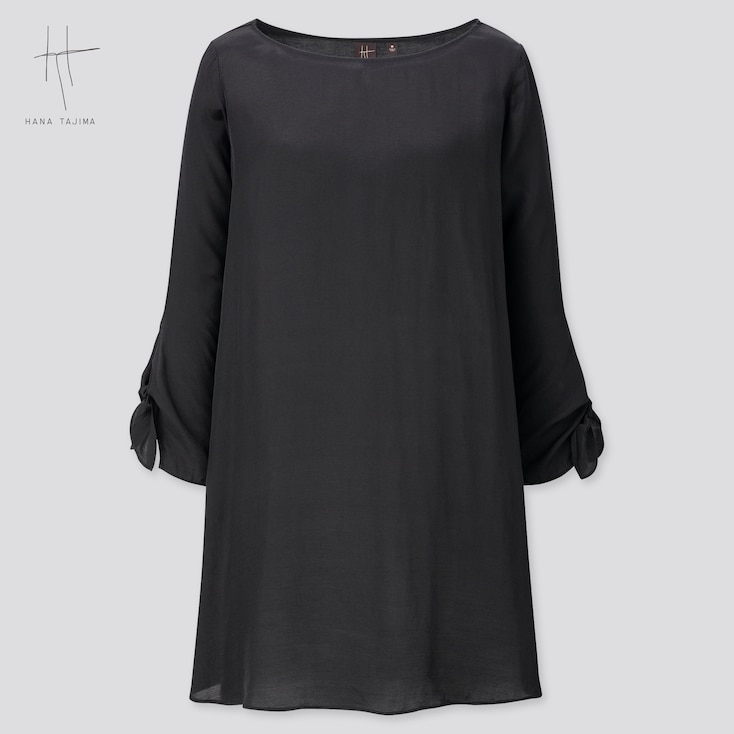Women Rayon Boat Neck Long-Sleeve Tunic (Hana Tajima) (Online Exclusive), Black, Large