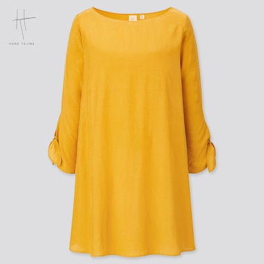 Women Rayon Boat Neck Long-Sleeve Tunic (Hana Tajima) (Online Exclusive), Yellow, Medium