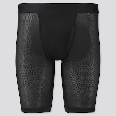 Men Airism Mesh Long Boxer Briefs, Black, Medium