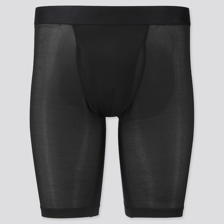 Men Airism Mesh Long Boxer Briefs, Black, Large