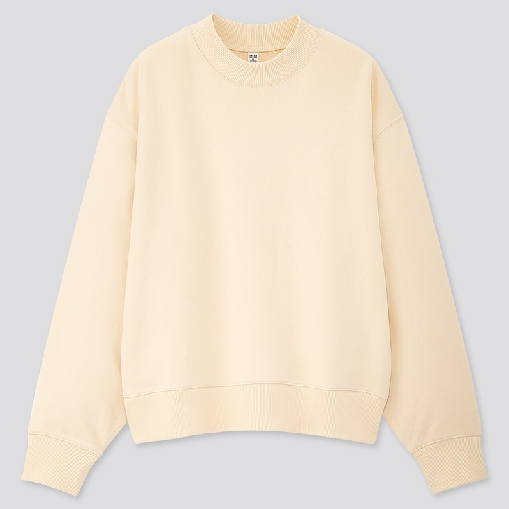 Women Sweat Crew Neck Long-Sleeve Pullover, Off White, Large
