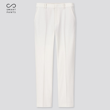 Women Smart 2-Way Stretch Pinstripe Ankle-Length Pants, Off White, Medium