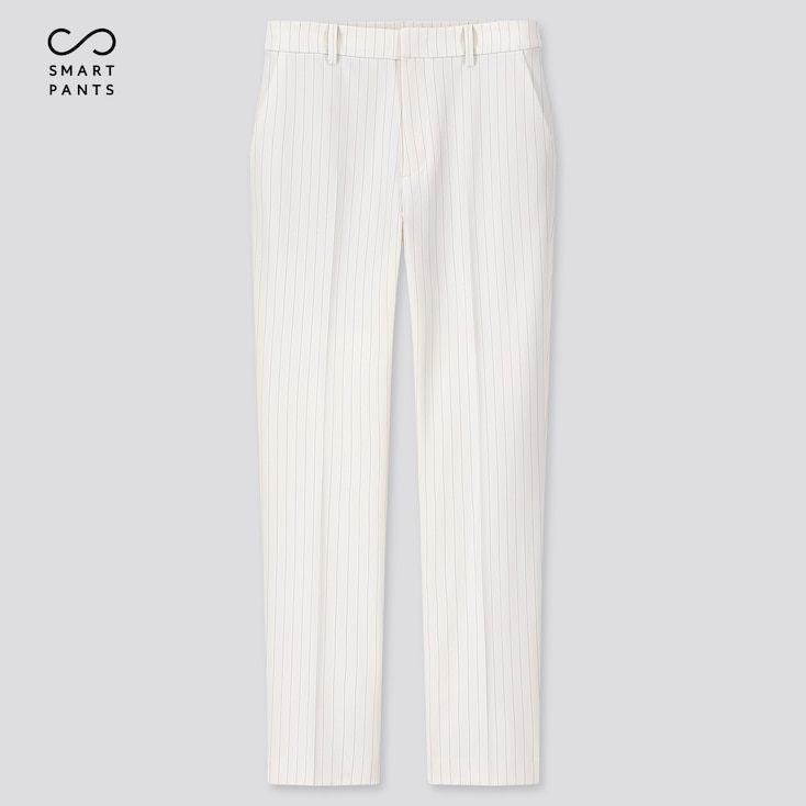 Women Ezy 2-Way Stretch Pinstripe Ankle-Length Pants, Off White, Large