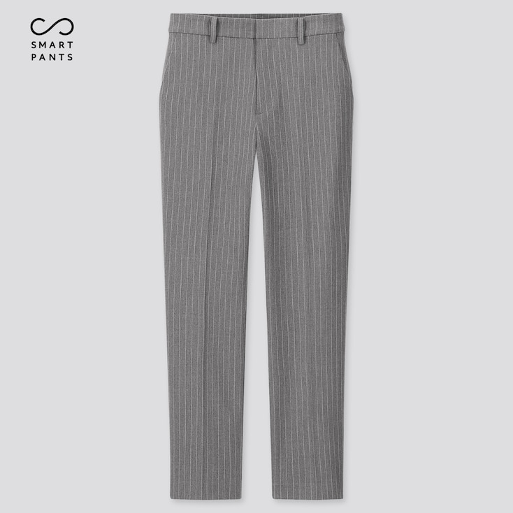 Women Ezy 2-Way Stretch Pinstripe Ankle-Length Pants, Gray, Large