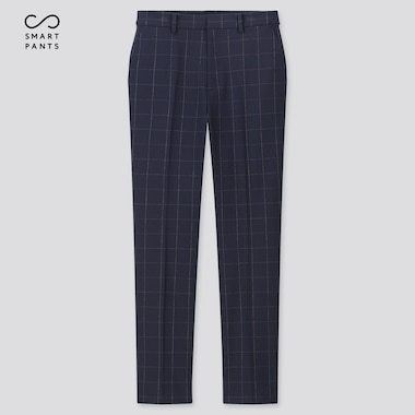 Women EZY TWO WAY STRETCH Checked Ankle Length Trousers