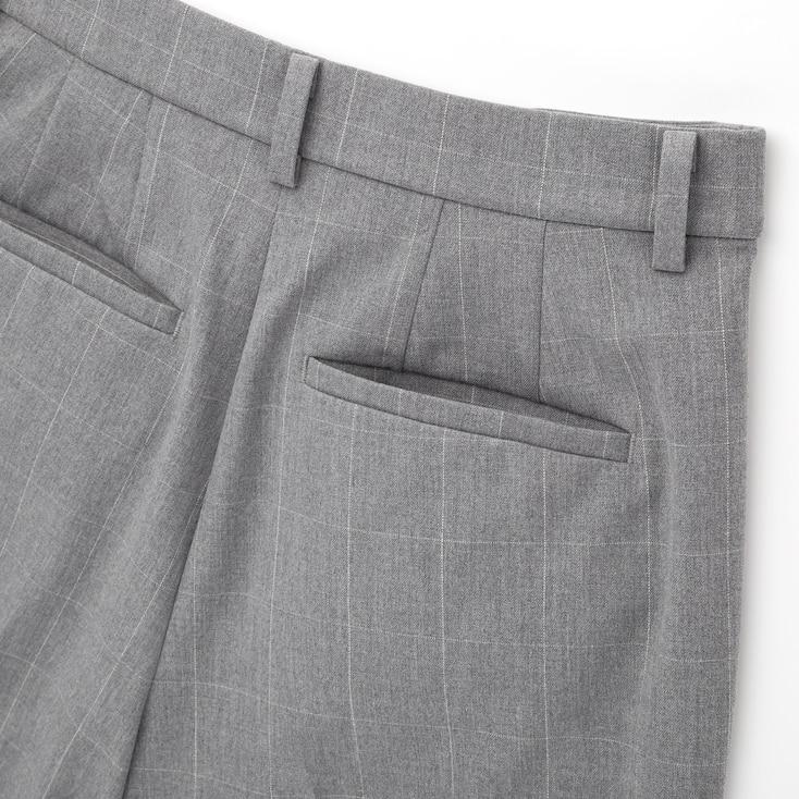 Women Smart 2-Way Stretch Windowpane Ankle-Length Pants, Navy, Large