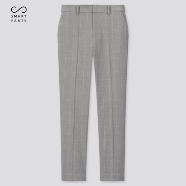 "Women Ezy 2-Way Stretch Windowpane Ankle-Length Pants (Tall 29"") (Online Exclusive), Gray, Medium"