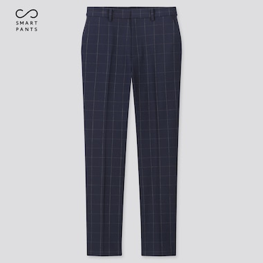 Women Smart 2-Way Stretch Windowpane Ankle-Length Pants (Tall) (Online Exclusive), Navy, Medium