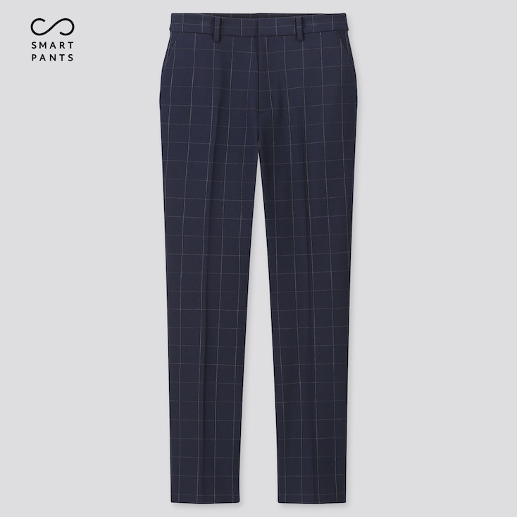 "Women Ezy 2-Way Stretch Windowpane Ankle-Length Pants (Tall 29"") (Online Exclusive), Navy, Large"