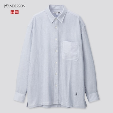 Men Linen Modal Oversized Long-Sleeve Shirt (Jw Anderson), Blue, Medium