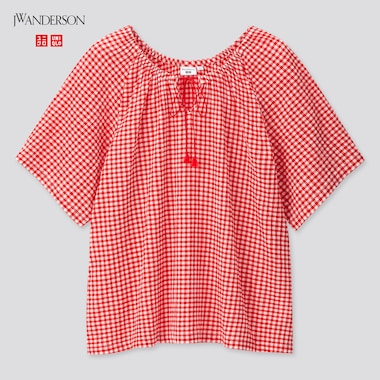 Women Gathered Short-Sleeve Blouse (Jw Anderson), Red, Medium