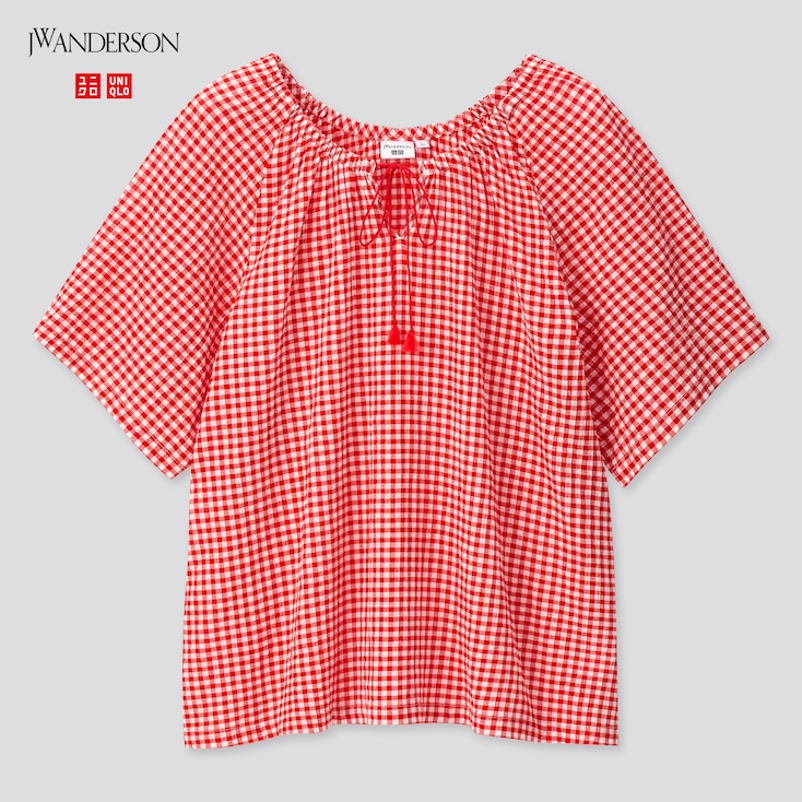Women Gathered Short-Sleeve Blouse (Jw Anderson), Red, Large