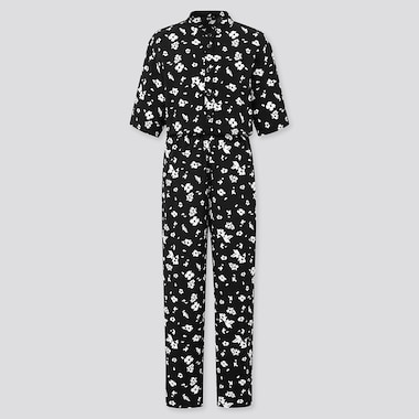 Women Printed Half-Sleeve Jumpsuit, Black, Medium