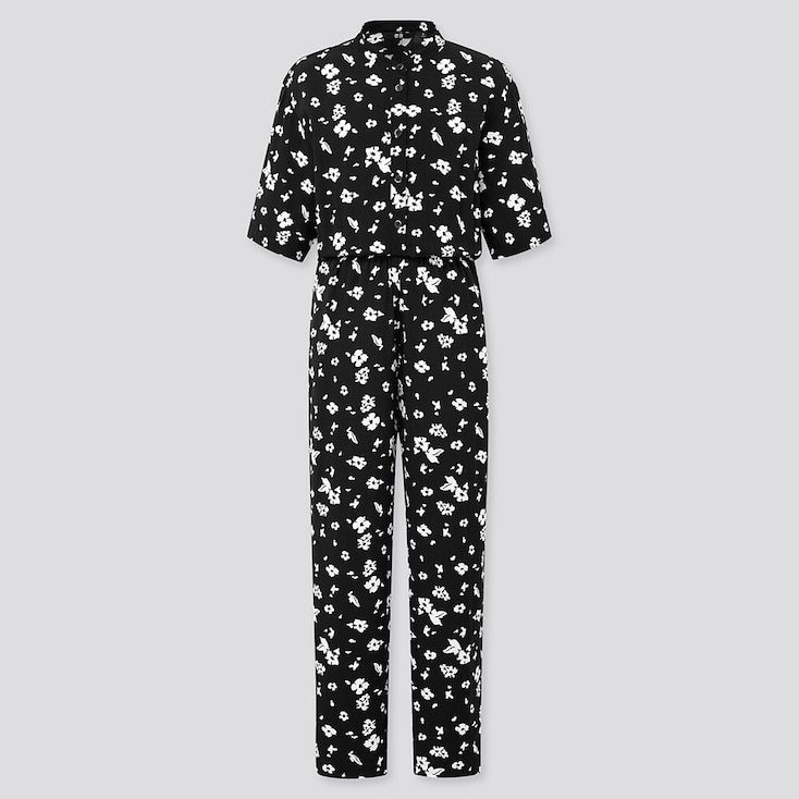 Women Printed Half-Sleeve Jumpsuit, Black, Large