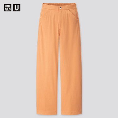 Women U Wide-Fit Curved Twill Jersey Pants, Orange, Medium