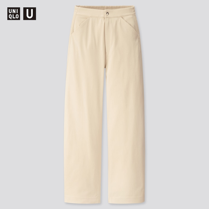 Women U Wide-Fit Curved Twill Jersey Pants, Natural, Large