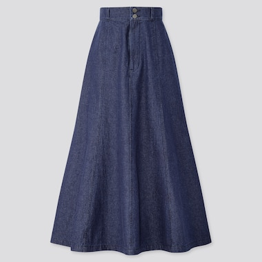 Women Cotton Mermaid High-Waist Long Skirt, Navy, Medium