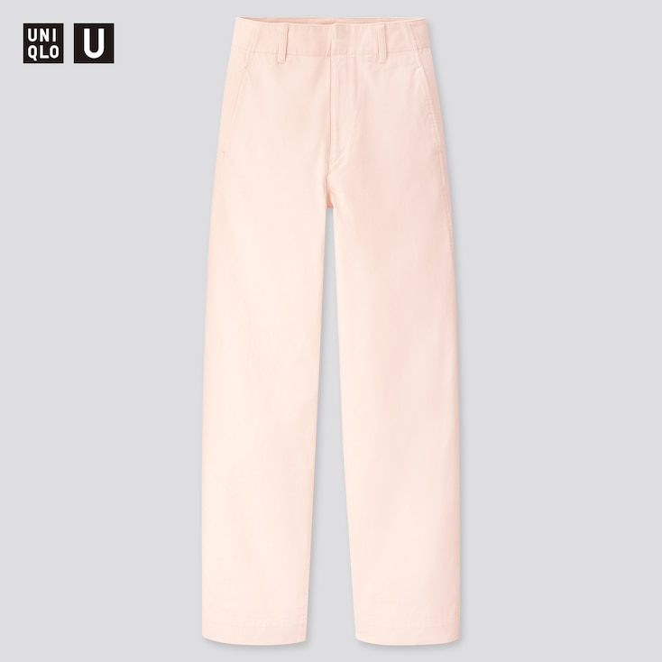 Women U Wide-Fit Curved Pants, Off White, Large