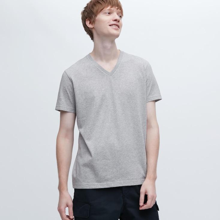 Men Dry V-Neck Short-Sleeve Color T-Shirt, Gray, Large