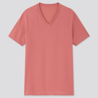 Men Dry V-Neck Short-Sleeve Color T-Shirt, Pink, Medium
