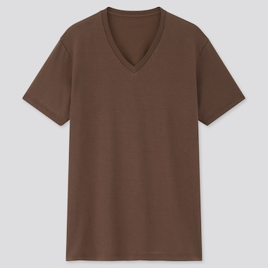 Men Dry V-Neck Short-Sleeve Color T-Shirt, Brown, Medium