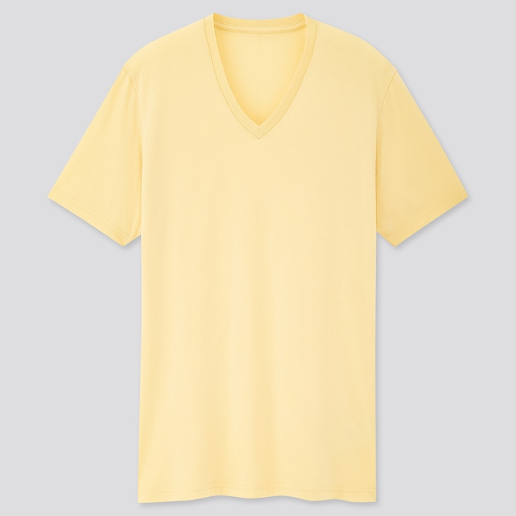 Men Dry V-Neck Short-Sleeve Color T-Shirt, Yellow, Large
