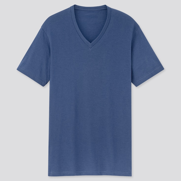 Men Dry V-Neck Short-Sleeve Color T-Shirt, Blue, Large