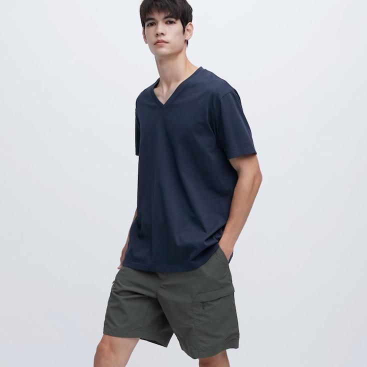 Men Dry V-Neck Short-Sleeve Color T-Shirt, Navy, Large