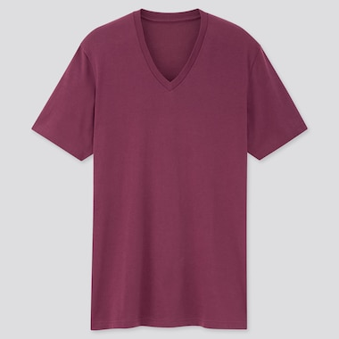Men Dry V-Neck Short-Sleeve Color T-Shirt, Purple, Medium