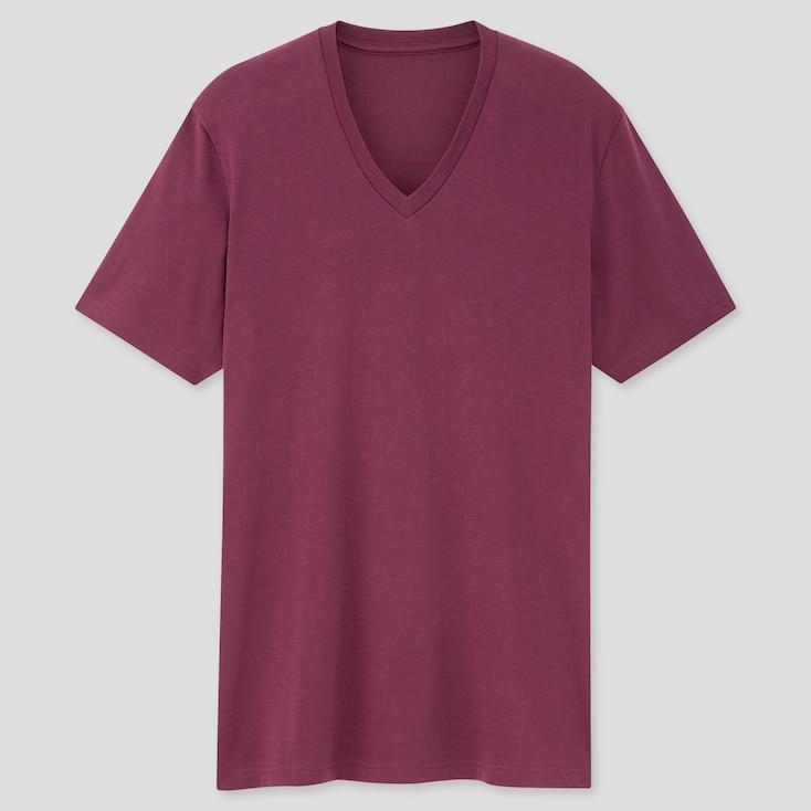 Men Dry V-Neck Short-Sleeve Color T-Shirt, Purple, Large