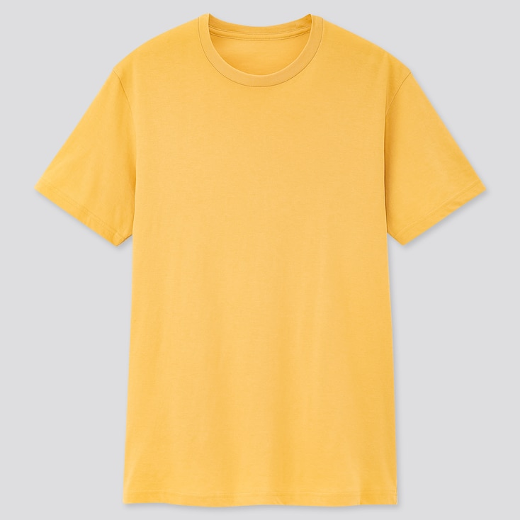 Men Dry Crew Neck Short-Sleeve Color T-Shirt, Yellow, Large