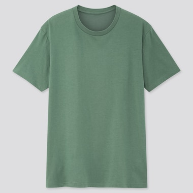 Men Dry Crew Neck Short-Sleeve Color T-Shirt, Green, Medium