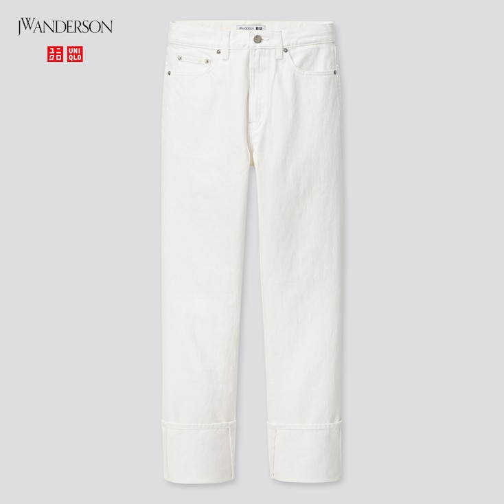 Women High-Rise Slim-Fit Straight Jeans (Jw Anderson), White, Large