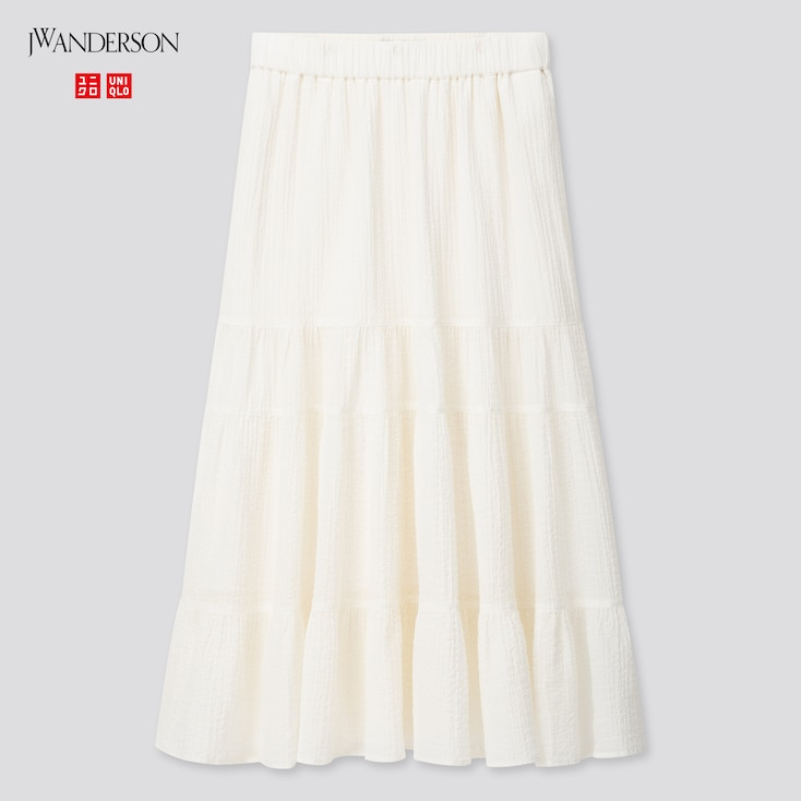 Women Tiered Skirt (Jw Anderson), Off White, Large