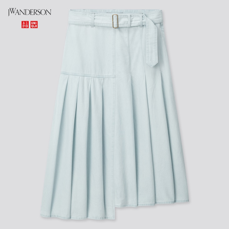 Women Tucked Flare Skirt (Jw Anderson), Blue, Large