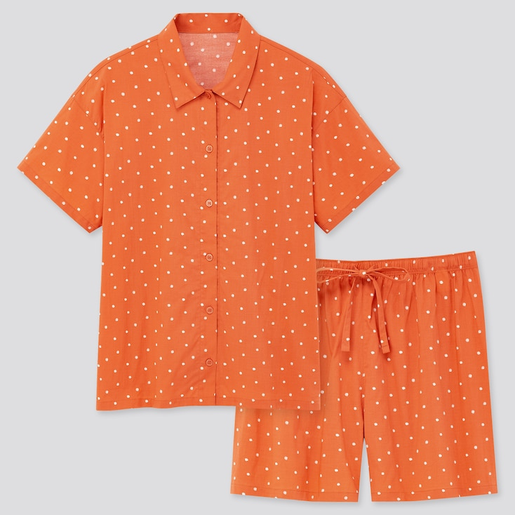Women Soft Stretch Short-Sleeve Pajamas, Orange, Large