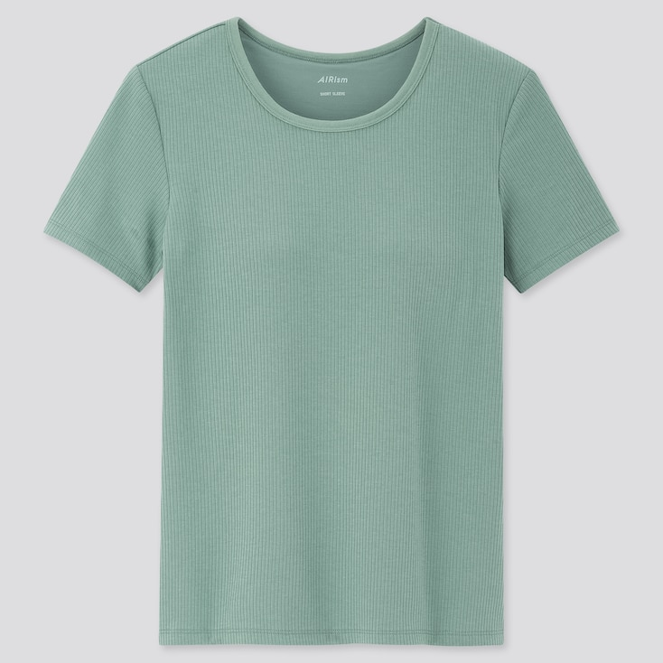 Women Airism Cotton Ribbed Short-Sleeve T-Shirt Bra Top (Online Exclusive), Green, Large