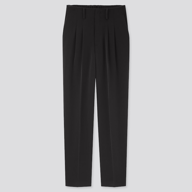 Women Drape Relaxed Tapered Ankle Pants, Black, Large