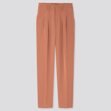 Women Drape Relaxed Tapered Ankle Pants, Brown, Medium