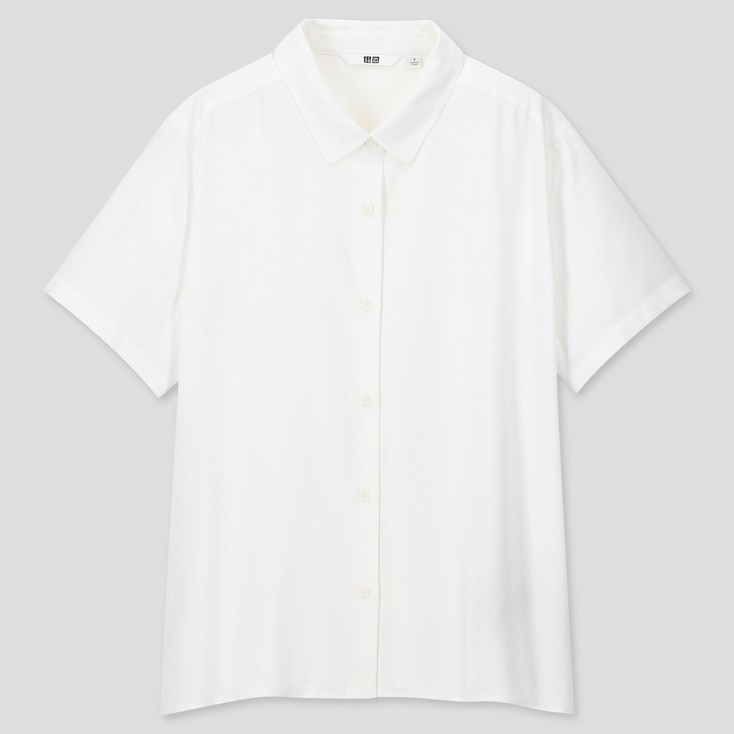 Women Rayon Short-Sleeve Blouse, White, Large
