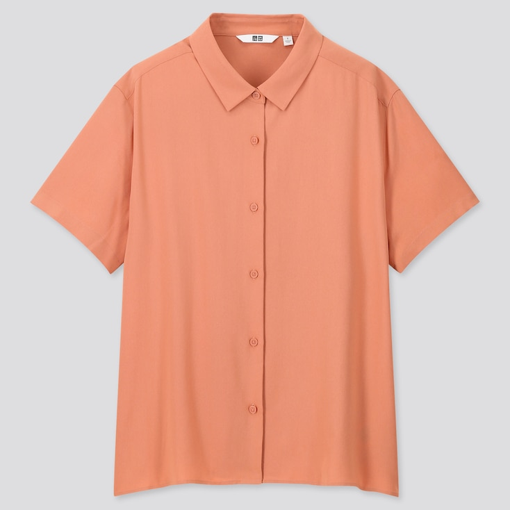 Women Rayon Short-Sleeve Blouse, Light Orange, Large