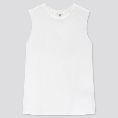 Women Cotton Sleeveless T-Shirt, White, Medium