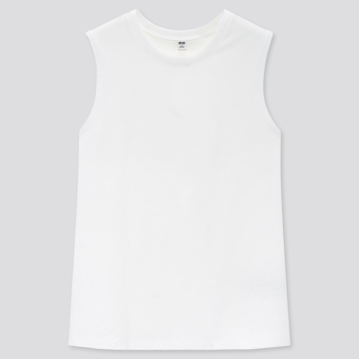 Women Cotton Sleeveless T-Shirt, White, Large