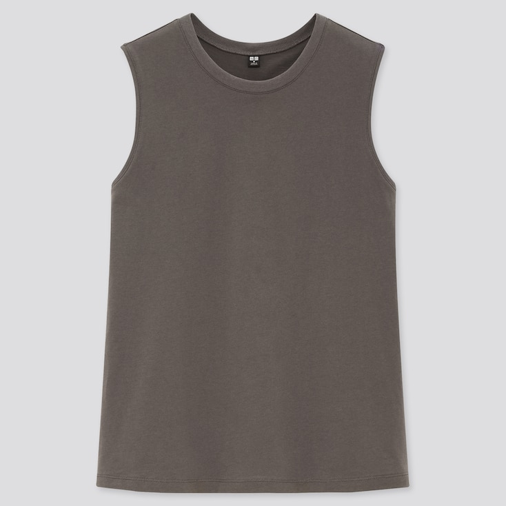 Women Cotton Sleeveless T-Shirt, Gray, Large