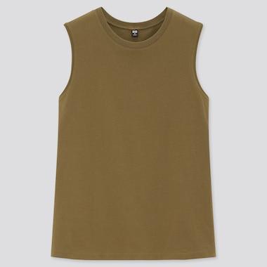Women Cotton Sleeveless T-Shirt, Olive, Medium
