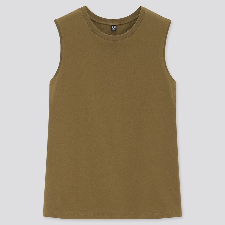 Women Cotton Sleeveless T-Shirt, Olive, Large