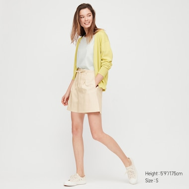 Women Belted Smart Shorts, Off White, Medium